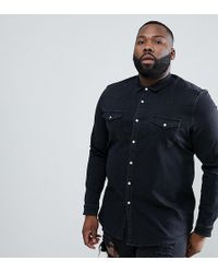 ASOS - Design Plus Stretch Slim Denim Western Shirt In Black - Lyst