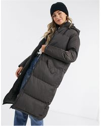 Brave Soul Cello Maxi Longline Puffer Jacket-brown