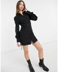 Bershka Vestito camicia con arricciature laterali color antracite - Grigio