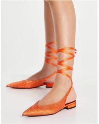 ASOS Lucent - Ballerines pointues avec liens à nouer en satin - Orange