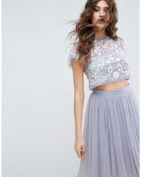 Needle & Thread - Meadow Embroidered Tulle Cropped Top - Lyst