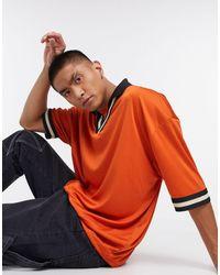 ASOS Oversized Polo Shirt With Retro Neck Tipping - Orange