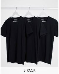 SELECTED 3 Pack Crew Neck T-shirt - Black