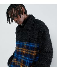 The New County - Coat In Teddy Faur Fur And Check - Lyst