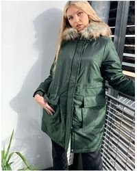 Pieces Parka With Faux Fur Hood - Green