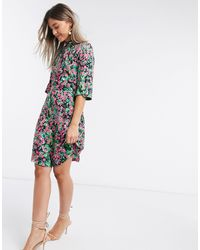 Closet Платье Мини С Цветочным Принтом И Высоким Воротником -мульти - Многоцветный