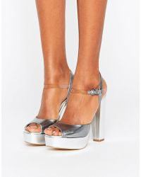 Terry De Havilland - Coco Silver Leather Platform Heeled Sandals - Lyst