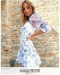 ASOS Asos Design Petite Organza Shirred Mini Dress With Puff Sleeve - Blue