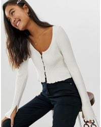 ASOS - Button Front Cardigan With Scoop Neck - Lyst