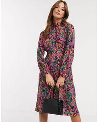 Closet Платье Миди С Высоким Воротником И Цветочным Принтом -мульти - Многоцветный