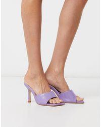 Public Desire Harlow Square Toe Mule Sandals - Purple