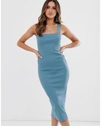 Missguided Geribbelde Midaxi-jurk Met Vierkante Hals In Blauw