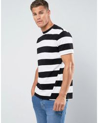 Mango - Man Block Stripe T-shirt With Twist Feature In Black And White - Lyst