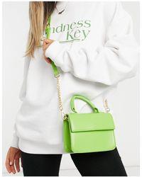 ASOS Bandolera cuadrada verde suave con asa