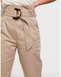 & Other Stories Soft Belted Tapered Trousers - Natural