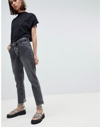 Cheap Monday Cropped Mom Jean In Rigid Denim With Destroyed Hem - Black