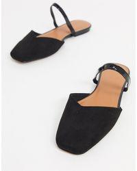 ASOS Lottie Square Toe Flat Mules - Black