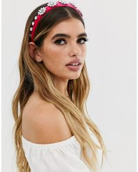 ASOS Headband With Crystal Embellishment In Pink Velvet