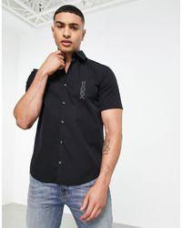 HUGO Черная Рубашка Узкого Кроя С Короткими Рукавами И Контрастным Логотипом Ermino-черный Цвет