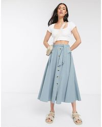 ASOS Belted Button Down Midi Skirt - Blue