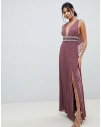 ASOS DESIGN - Maxi Dress In Pleat With Embellished Tape Detail - Lyst
