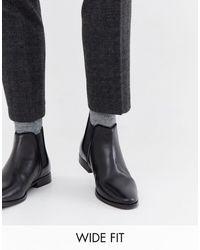 ASOS - Черные Кожаные Ботинки Челси Для Широкой Стопы С Однотонной Подошвой - Lyst