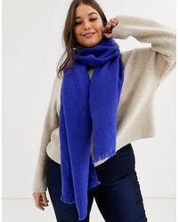 ASOS Superzachte Lange Geweven Sjaal Met Onafgewerkte Randjes In Blauw