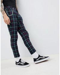 ASOS - Design Super Skinny Crop Smart Trousers In Tartan - Lyst