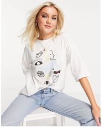 Monki Cissi Organic Cotton Face Print T-shirt - White