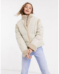 ASOS Borg Panelled Puffer Jacket - Natural
