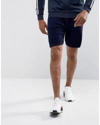 ASOS - Textured Shorts In Navy - Lyst