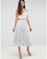 ASOS - Embroidered Tulle Midi Skirt - Lyst