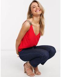 Morgan Caraco à bretelles ornées - Rouge - Rose