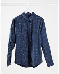 Abercrombie & Fitch Camicia Oxford slim con caratteristico logo blu navy