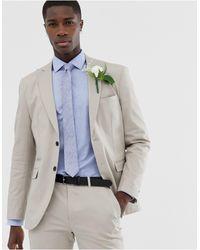 Jack & Jones Облегающий Хлопковый Пиджак Premium Slim Wedding Suit Jacket In Brushed Cotto-бежевый - Многоцветный