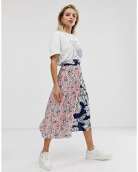 1aba58645b ASOS Asos Design Tall Mixed Ditsy Floral Wrap Midi Skirt With Lace ...