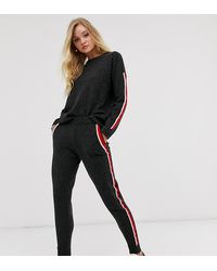 Micha Lounge Knitted sweatpants With Contrast Side Stripe Co-ord - Black