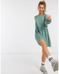 Daisy Street Mini Smock Dress - Green