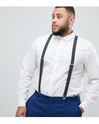 ASOS - Plus Wedding Suspenders In Khaki With Vintage Finish - Lyst
