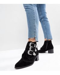 ASOS - Asos Relieve Suede Buckle Ankle Boots - Lyst