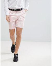 ASOS - Wedding Slim Mid Length Smart Shorts In Pink Cotton Sateen - Lyst