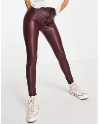 Pull&Bear Faux Leather Skinny Trousers - Purple