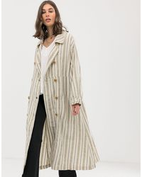 Free People Sweet Melody Stripe Trench Coat - Natural