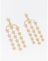 Monki Star Multi Rowdrop Down Earrings - Metallic