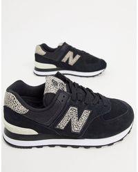 New Balance 574 - Sneakers Met Dierenprint - Zwart