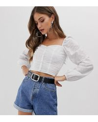 Stradivarius Broderie Button Front Blouse With Square Neck In White