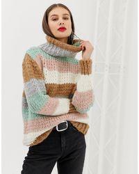 River Island Roll Neck Sweater In Stripe - Multicolor