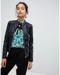 Vila - Faux Leather Jacket - Lyst
