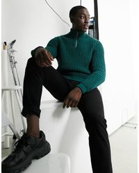 ASOS Heavyweight Fisherman Rib Half Zip Sweater - Green