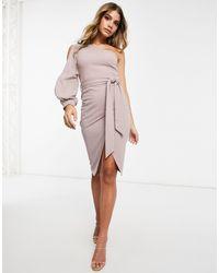 AX Paris One-shoulder Midi Dress - Pink